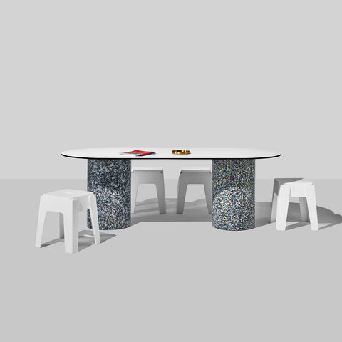 Confetti Dining Table | 100% Recycled Plastic Indoor/Outdoor Furniture Ellipse Top | DesignByThem | GibsonKarlo