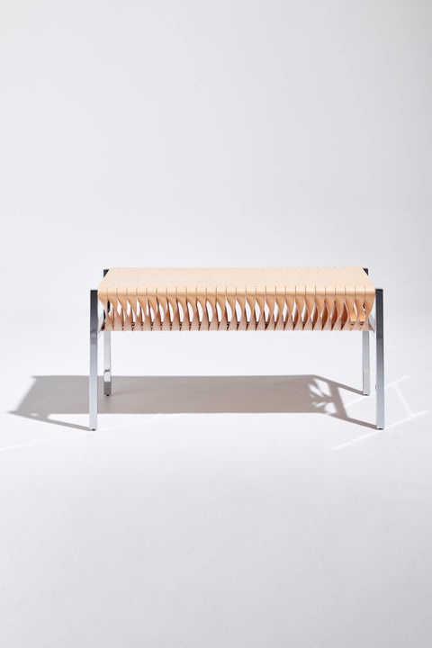 DL Bench by Dion Lee, Sarah Gibson & Nicholas Karlovasitis | Saddle Leather & Chrome | DesignByThem