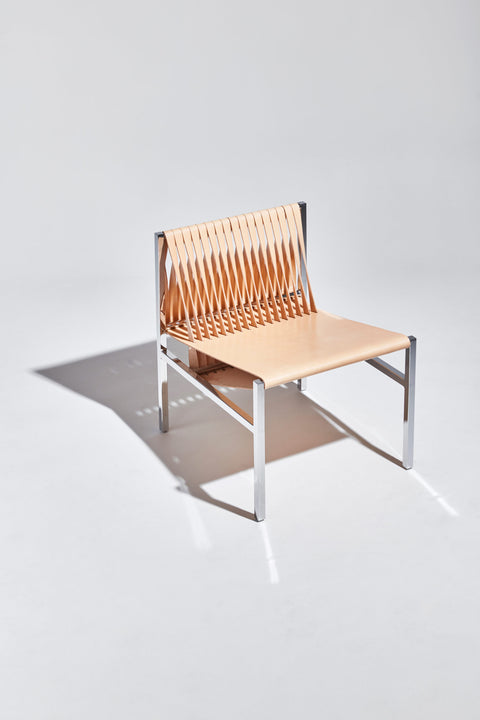 DL Lounge Chair by Dion Lee, Sarah Gibson & Nicholas Karlovasitis | Saddle Leather & Chrome | DesignByThem