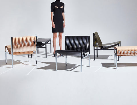 DL Lounge Chair & Bench by Dion Lee, Sarah Gibson & Nicholas Karlovasitis | Saddle Leather & Metal | DesignByThem