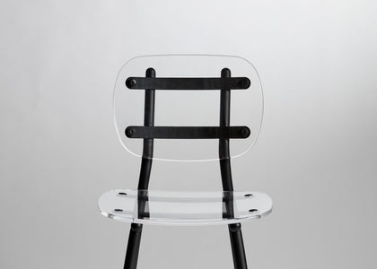 Fenster Dining Chair | Clear Acrylic & Black Stainless Steel Indoor Outdoor Seating | GibsonKarlo | DesignByThem | Gallery