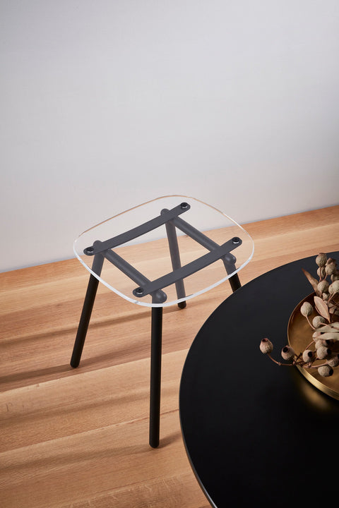 Fenster Low Stool | Clear Acrylic & Black Stainless Steel Indoor Outdoor Seating | GibsonKarlo | DesignByThem