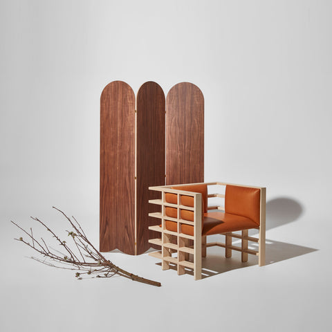 Mochi Leather Armchair by Elliot Bastianon with Walnut Picket Room Divider by GibsonKarlo for DesignByThem