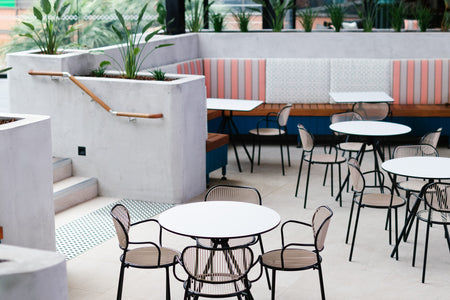 Piper Cafe Table at Bridgeway Hotel by Helm Creative | DesignByThem | Gallery