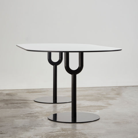 Piper Dining Pedestal Table | Indoor Outdoor Steel Dining Table | GibsonKarlo | DesignByThem