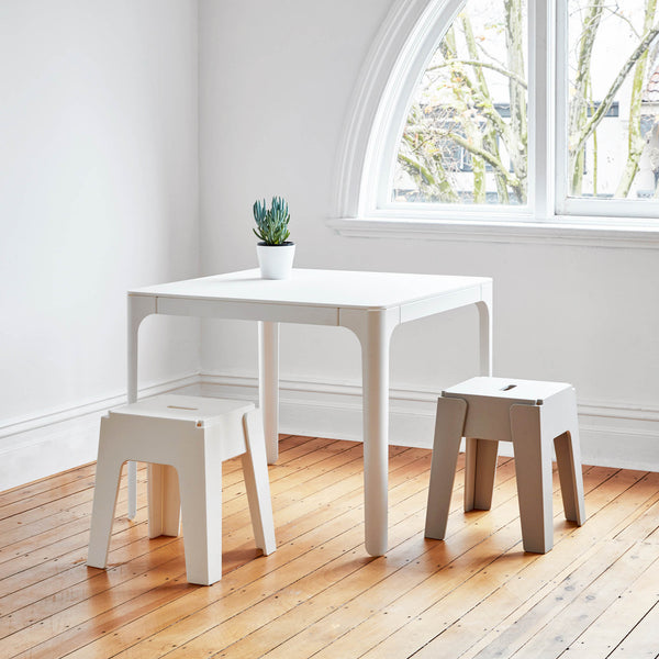White & Grey Butter Stools | White Pop Dining Table | DesignByThem | Tables & Seating | Outdoor Use