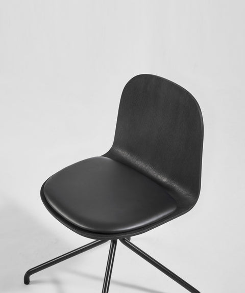 Potato Chair - Black Stained Oak + Seat Pad - Swivel Base