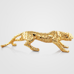 Metallic Leopard Tabletop Sculpture