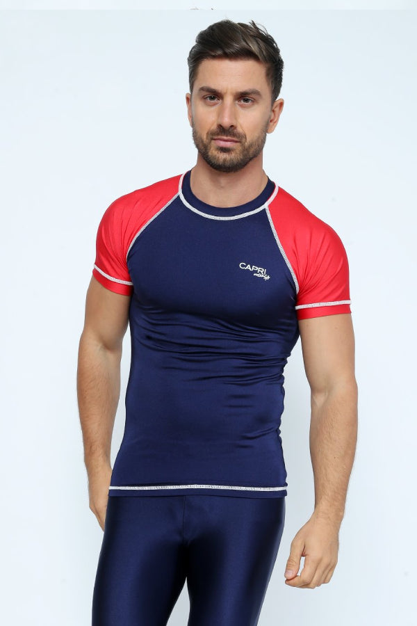 MRV12 - Men's Blue Navy / Red Rashvest Short Sleeves