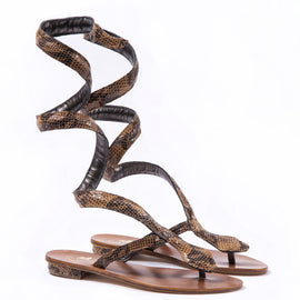 Pitone- Brown - Flat Gladiator Boots Snake Skin Sandal - CAPRI LIFESTYLE READY MADE GARMENTS TRADING L.L.C