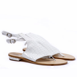 Ravello - White - Open Toe Snakeskin flat shoes - CAPRI LIFESTYLE READY MADE GARMENTS TRADING L.L.C