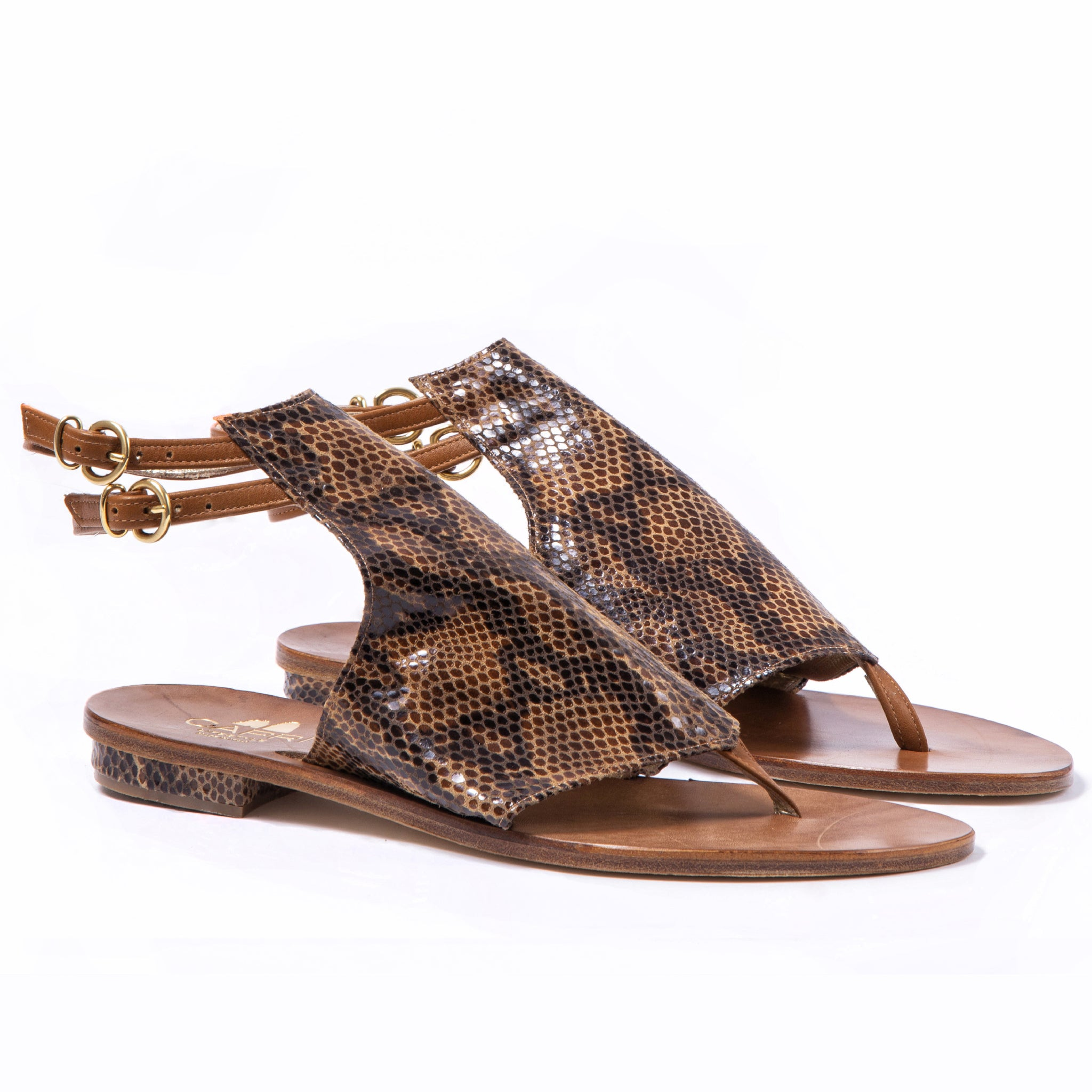 Ravello - Brown - Open Toe Snakeskin flat shoes