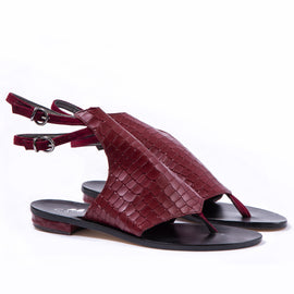 Ravello-B- Red - Open Toe Snakeskin flat shoes - CAPRI LIFESTYLE READY MADE GARMENTS TRADING L.L.C