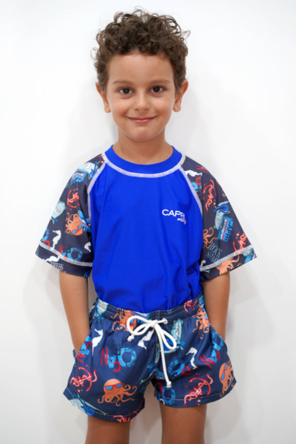 BRV020-Boy's Rashvest Short Sleeves - Shark Mood