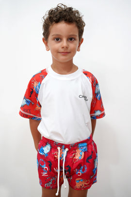 BRV020-Boy's Rashvest Short Sleeves - Shark Mood - CAPRI LIFESTYLE READY MADE GARMENTS TRADING L.L.C