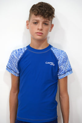 BRV022-Boy's Rashvest Short Sleeves - Maori Mood - CAPRI LIFESTYLE READY MADE GARMENTS TRADING L.L.C