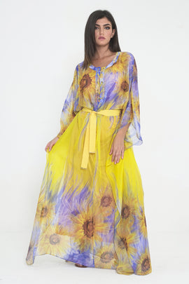 CLPE20CS02 - Women Yellow Floral Print Long Kaftan with belt - CAPRI LIFESTYLE READY MADE GARMENTS TRADING L.L.C