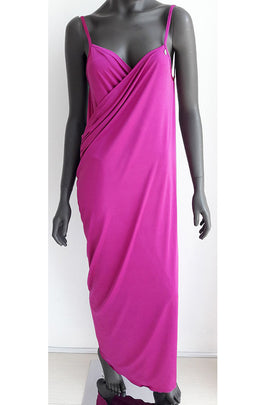 CBD03-Women Plain Wrap Long Beach Dress - CAPRI LIFESTYLE READY MADE GARMENTS TRADING L.L.C