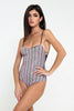 CLGLI03-Women One Piece Paillettes Striped Black Triangle Swimwear