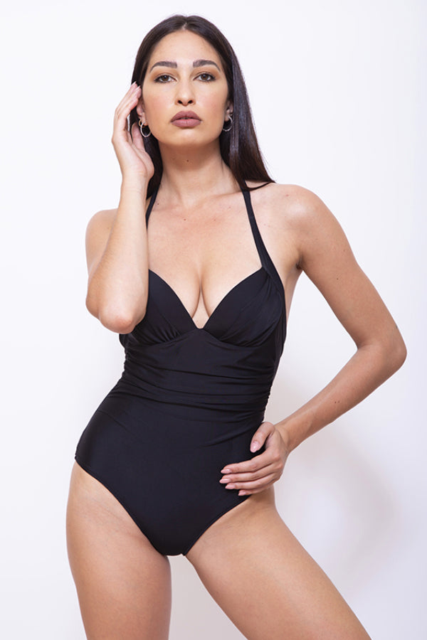 CRI005-Women One Piece Halter Swimsuit