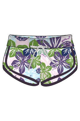 DU03-Girls Tactel Beach Shorts - Flowers Mood - CAPRI LIFESTYLE READY MADE GARMENTS TRADING L.L.C