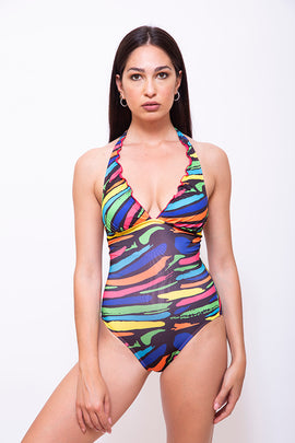FRANCI-S-Women One Piece Halter Swimsuit - Stripped Printed - CAPRI LIFESTYLE READY MADE GARMENTS TRADING L.L.C