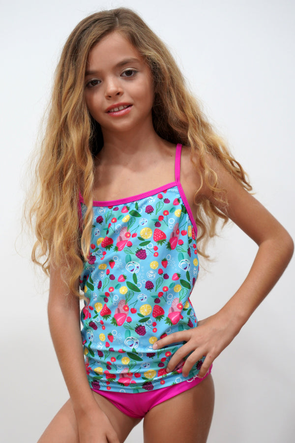 FRT008-Girls Two Piece Swimsuit Printed Side Tankini Sets Swimwear  - Fruit Mood