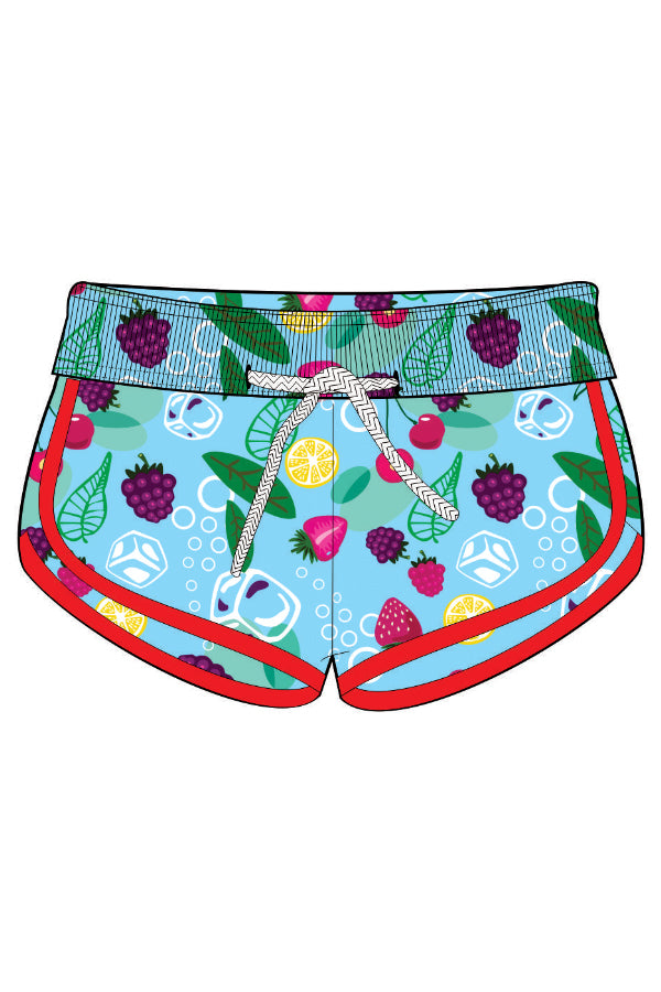FRT010-Girls Tactel Beach Shorts - Fruits Mood