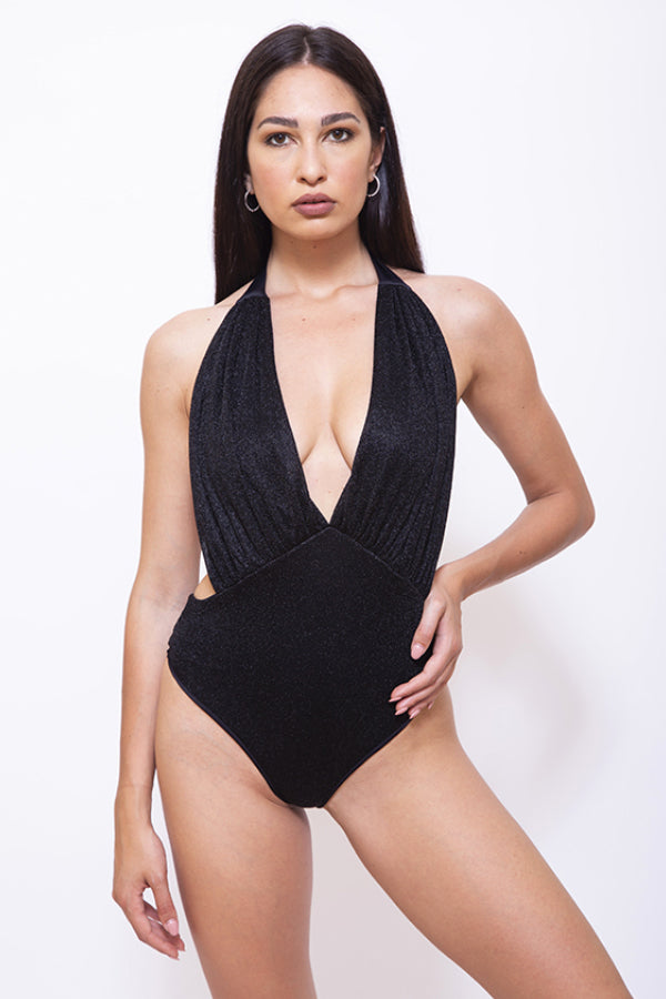 GLITTER - Women One-Piece Halter Swimsuit