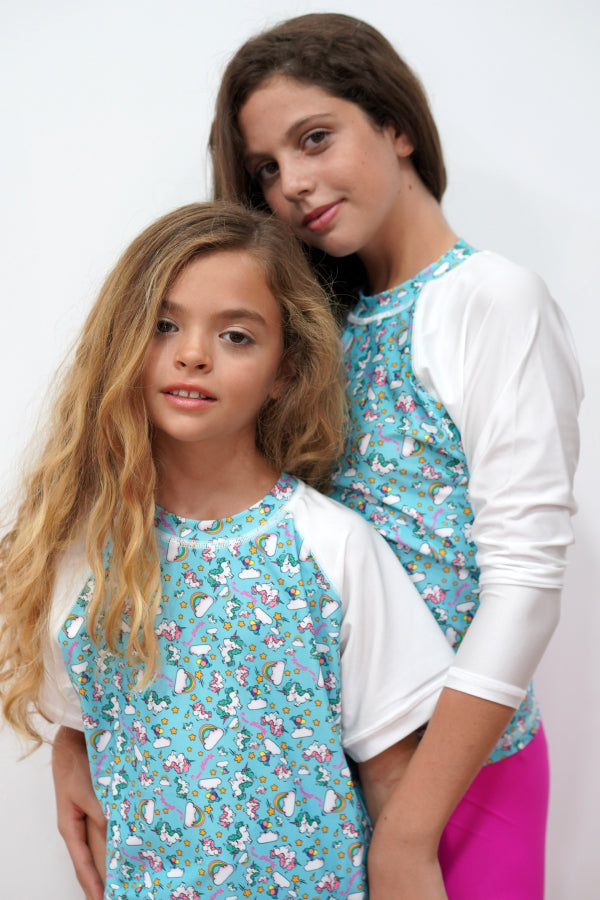 GRV029-Girls Rashvest Short Sleeves - Unicorn Mood