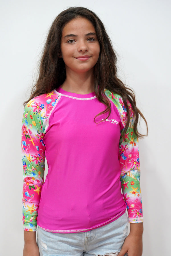 GRV030-Girls Rashvest Long Sleeves - Shell Mood