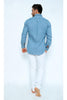 JEANS48-Men's Denim Polo Shirt with Collar & Full Buttons
