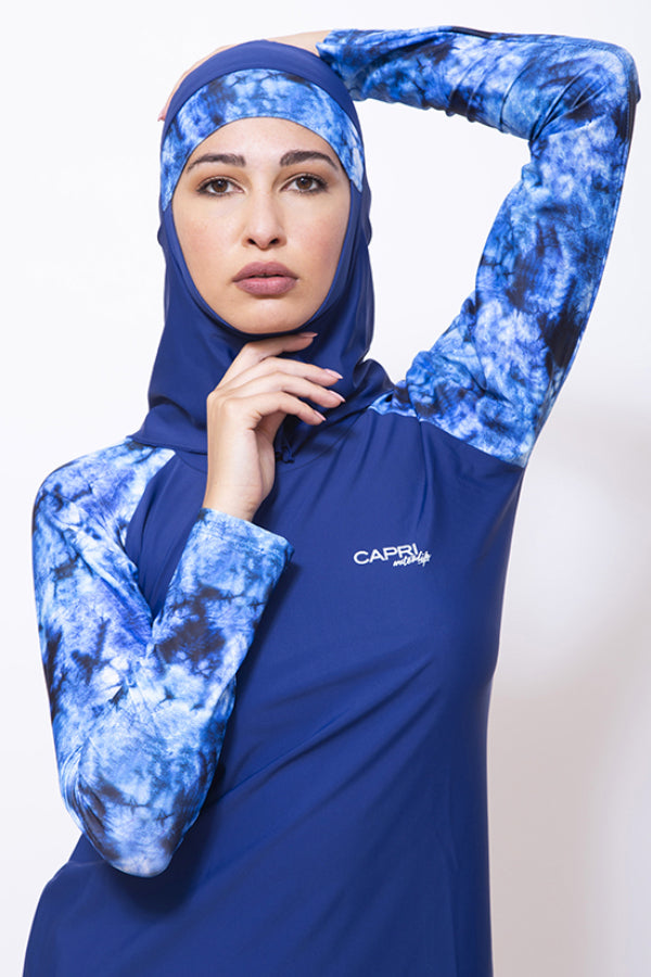 LBK21-Women Matt Burkini with Tight Leggings & Head Cover- Tye-Dye Printed