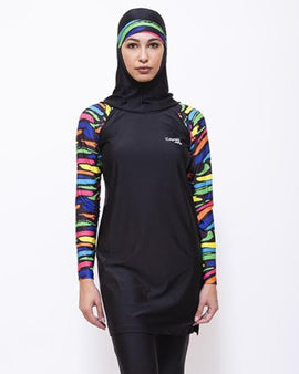 LBK22-Women Burkini with Leggings & Head Cover - Striped Printed - CAPRI LIFESTYLE READY MADE GARMENTS TRADING L.L.C