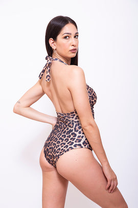 LEOPARD-I-Women One Piece Halter Swimsuit - Animal Printed - CAPRI LIFESTYLE READY MADE GARMENTS TRADING L.L.C