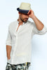 LINIUM-BEK-Men's Linen Polo Shirt Korean Collar & Full Buttons