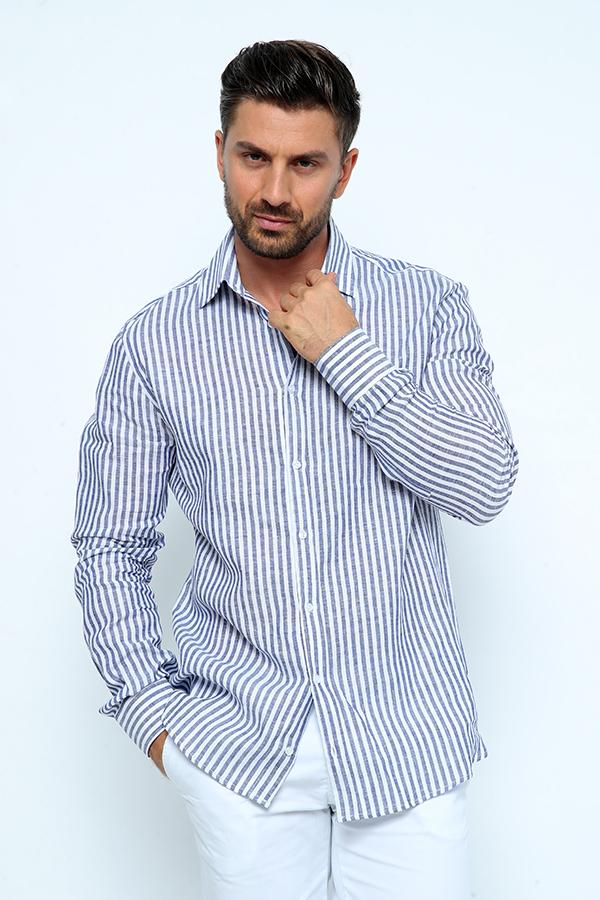 LINIUM-MBSC-Men's Linen Polo Stripped Shirt with Collar & Full Buttons
