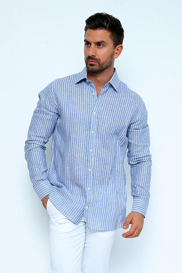 LINIUM-SBSC-Men's Linium Polo Stripped Shirt with Collar & Full Buttons