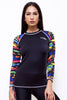 LRS22-Women Rashvest Long Sleeves - Striped Printed