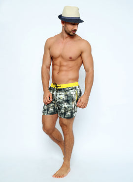 MIM001-Men's Swimshort - Mimetic Mood Printed with Colored Belt - CAPRI LIFESTYLE READY MADE GARMENTS TRADING L.L.C