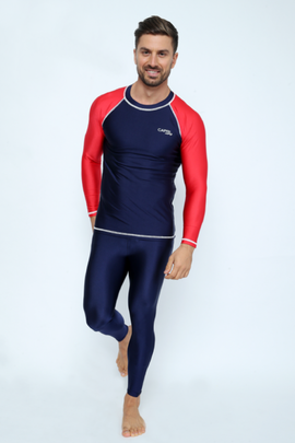 MRV10 - Men's Blue Navy / Red Rashvest Long Sleeves - CAPRI LIFESTYLE READY MADE GARMENTS TRADING L.L.C