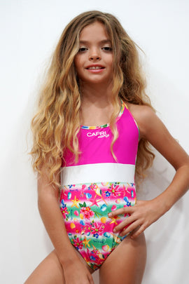 SHE02-Girls Halter One Piece Swimsuit - Shell Mood - CAPRI LIFESTYLE READY MADE GARMENTS TRADING L.L.C
