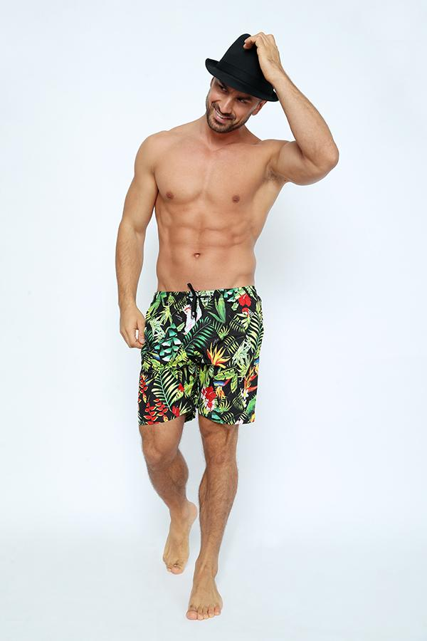 SHM10-Men's Boardshort - Mood Parrot Printed