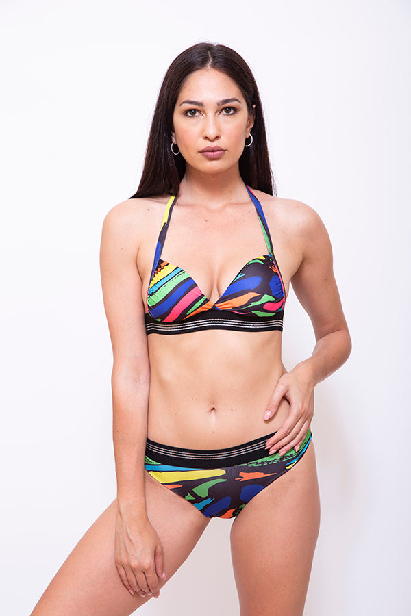 SRC006-Women Two Piece Triangle Bikini - Striped Printed