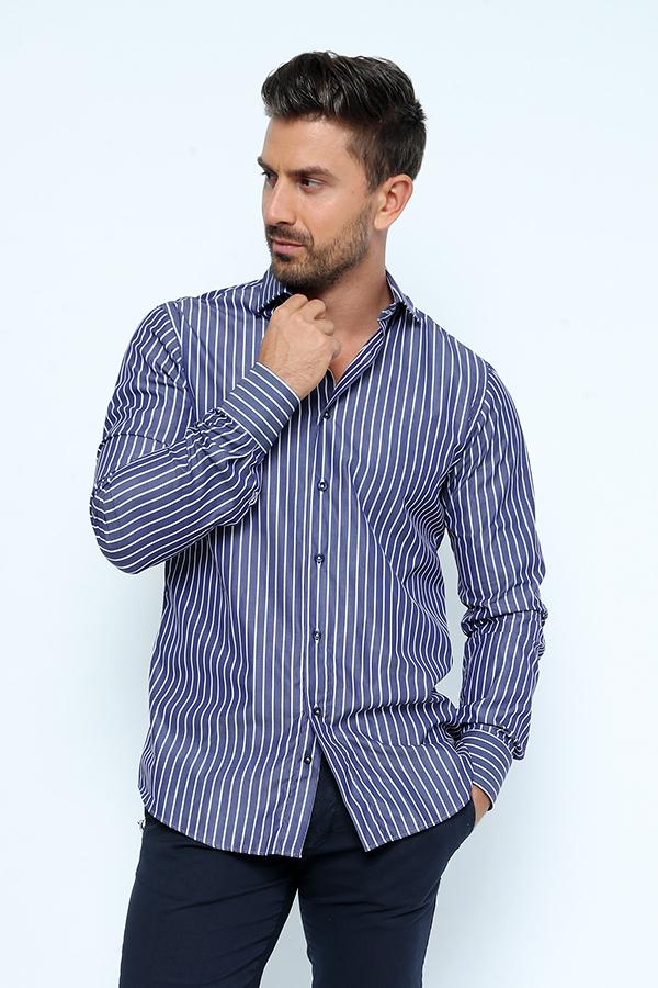 STRIPES-COT-Men's Polo Stripped Shirt with Collar & Full Buttons