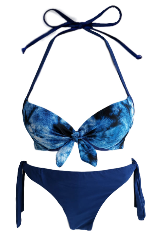 T&D013-Women Two Piece Push-up Bikini - Tye-Dye Printed