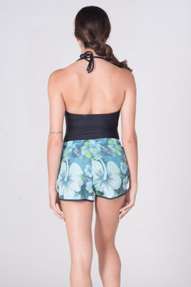 FH004 -Tactel Flower Printed Short - Blue - CAPRI LIFESTYLE READY MADE GARMENTS TRADING L.L.C
