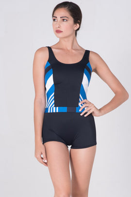 GRA-SW12-Women Jumpuit Swimwear with Striped Combination - CAPRI LIFESTYLE READY MADE GARMENTS TRADING L.L.C