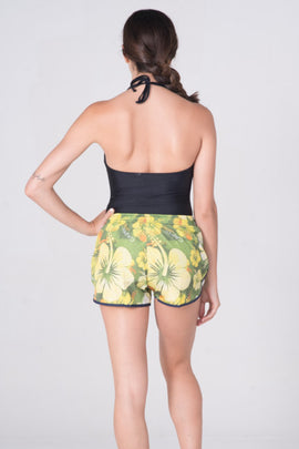 FH004 -Tactel Flower Printed Short - Yellow green - CAPRI LIFESTYLE READY MADE GARMENTS TRADING L.L.C