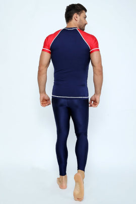 MRV12 - Men's Blue Navy / Red Rashvest Short Sleeves - CAPRI LIFESTYLE READY MADE GARMENTS TRADING L.L.C